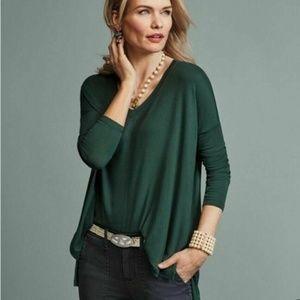 CAbi Chill Tee Shirt Tunic V Neck Long Sleeve 3416
